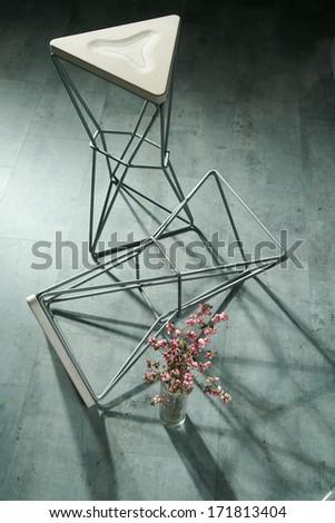 metal frame barstool - stock photo