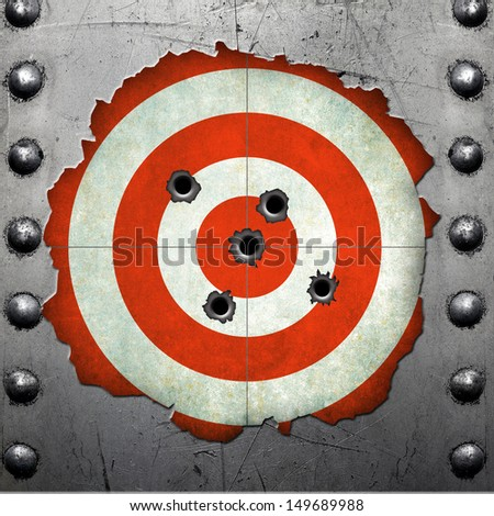 Metal frame with target and bullet holes - stock photo