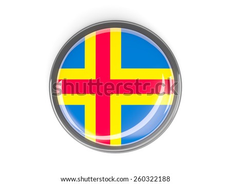 Metal framed round button with flag of aland islands - stock photo