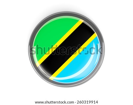 Metal framed round button with flag of tanzania - stock photo
