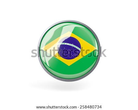 Metal framed round icon with flag of brazil