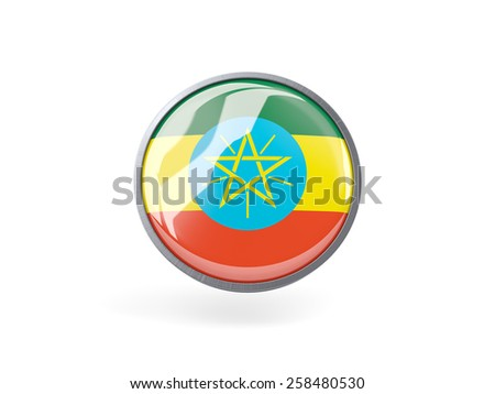 Metal framed round icon with flag of ethiopia - stock photo