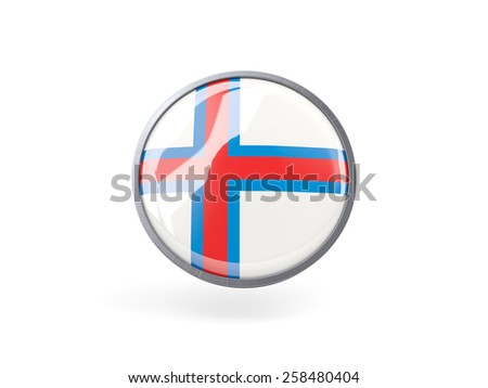 Metal framed round icon with flag of faroe islands - stock photo