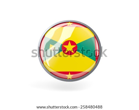 Metal framed round icon with flag of grenada - stock photo