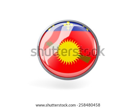 Metal framed round icon with flag of guadeloupe - stock photo