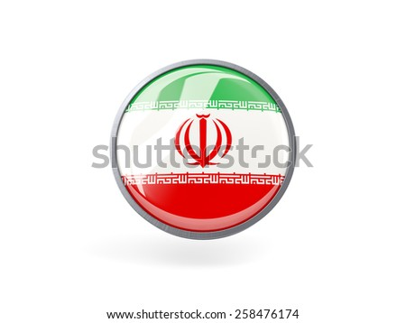 Metal framed round icon with flag of iran - stock photo