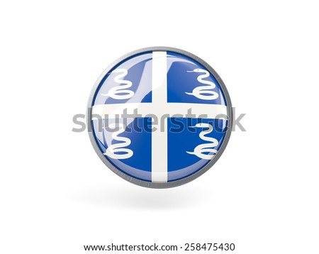 Metal framed round icon with flag of martinique - stock photo