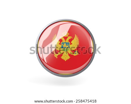 Metal framed round icon with flag of montenegro