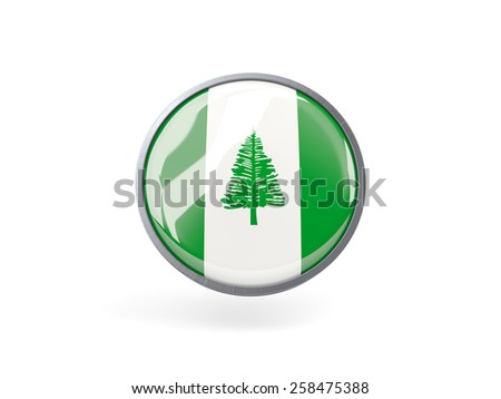 Metal framed round icon with flag of norfolk island - stock photo