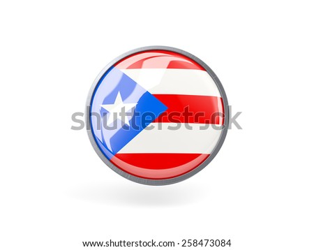 Metal framed round icon with flag of puerto rico - stock photo
