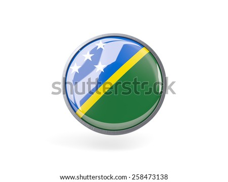 Metal framed round icon with flag of solomon islands - stock photo