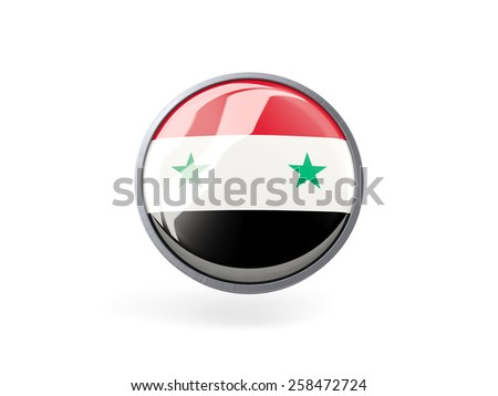 Metal framed round icon with flag of syria - stock photo