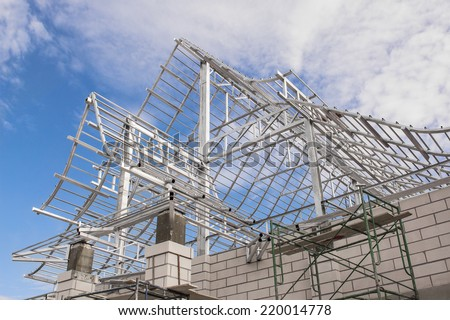 Metal Framing-Home Under Construction  - stock photo