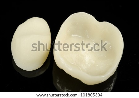 metal free dental crowns, underneath, rim, half finished cap - stock photo