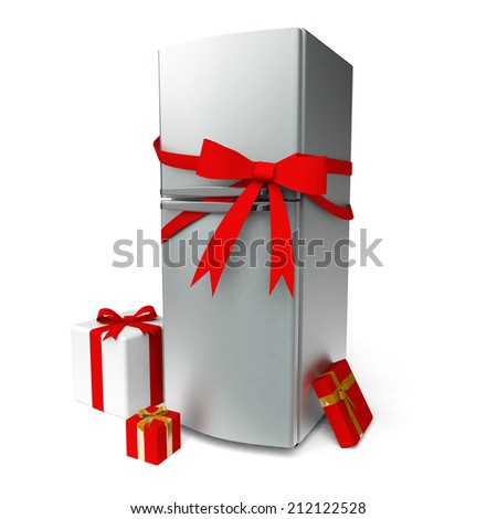 Metal fridge with red bow and gifts - stock photo