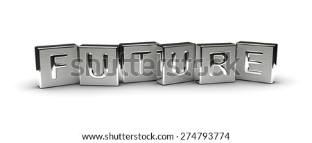Metal Future Text (isolated on white background) - stock photo