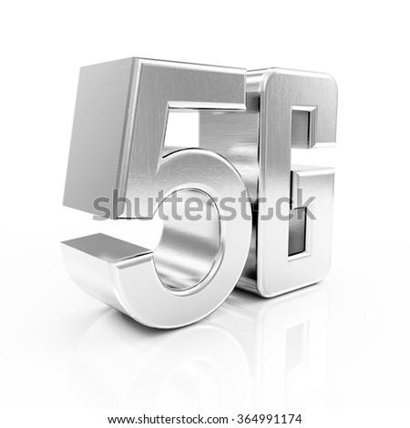 Metal 5G Symbol of Standard Wireless Communication isolated on white reflective background - stock photo