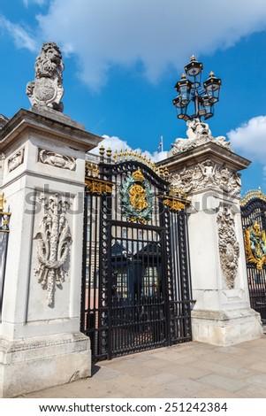 Metal Gate and street lamp.  London, United Kingdom - stock photo