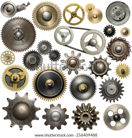 Metal gear, cogwheels, pulleys and clockwork spare parts.  - stock photo