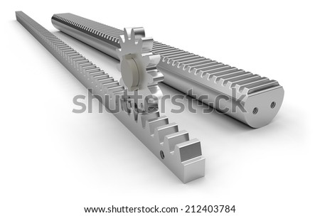 Metal gear racks with pinion - stock photo