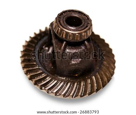 metal gear the automobile mechanism in plentiful greasing - stock photo