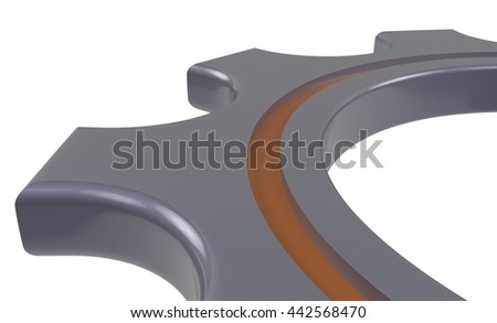 metal gear wheel isolated white background - 3d illustration - stock photo
