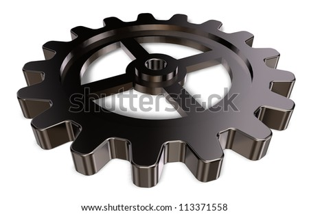 metal gear wheel on white background - 3d illustration - stock photo