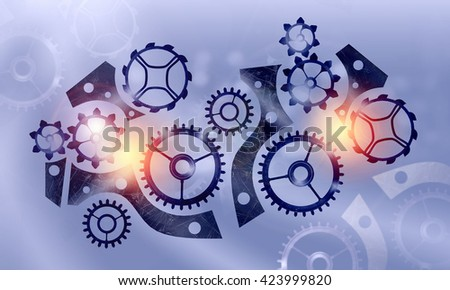 Metal gears and cogwheels - stock photo