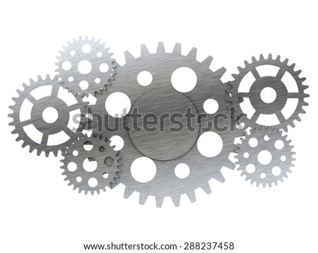 Metal gears and cogwheels isolated on white background - stock photo