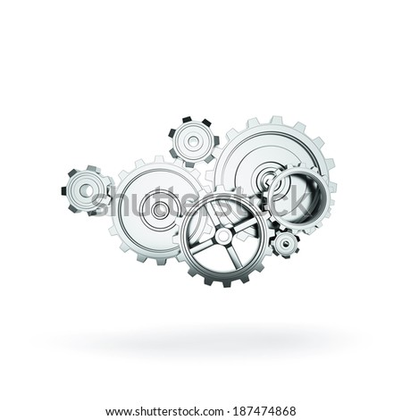 metal gears and cogwheels on gray background - stock photo