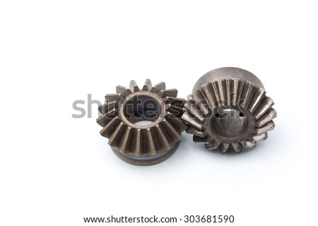 Metal gears isolated on isolated white background - stock photo