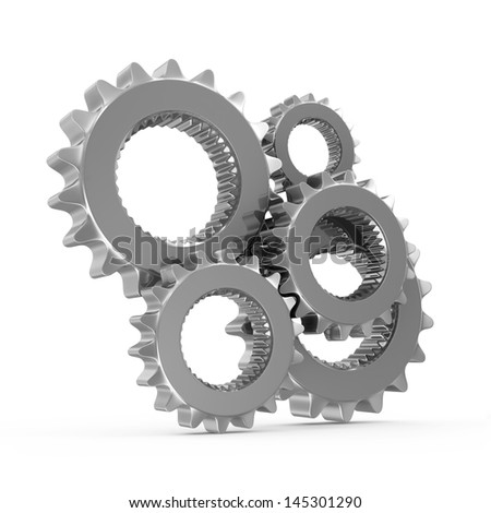 Metal Gears isolated on white background - stock photo