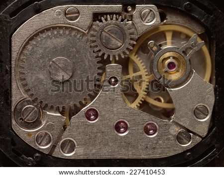 Metal gears of old clock mechanism