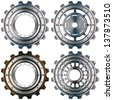 Metal Gears on a White Background / Four metal and bronw gears with bolts isolated on white background - stock photo