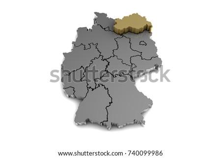 Metal Germany Map Mecklenburgvorpommern Region Highlighted Stock