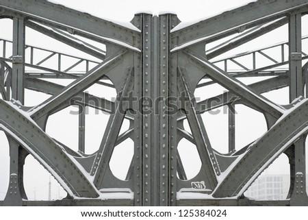 Metal Girders on a Bridge - stock photo