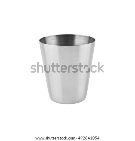 metal glass isolated on a white background closeup