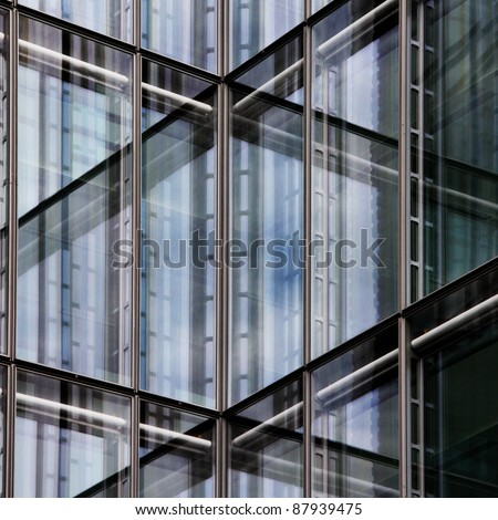 Metal Glass Windows in Tower Block - stock photo