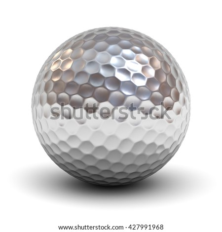 Metal golf ball isolated over white background with reflection and shadow. 3D rendering.
