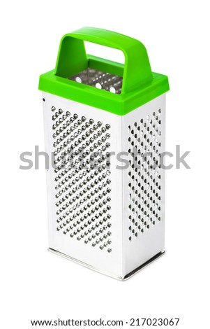 Metal grater with handle isolated on white background