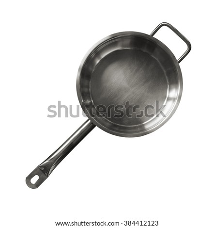 Metal griddle on white background