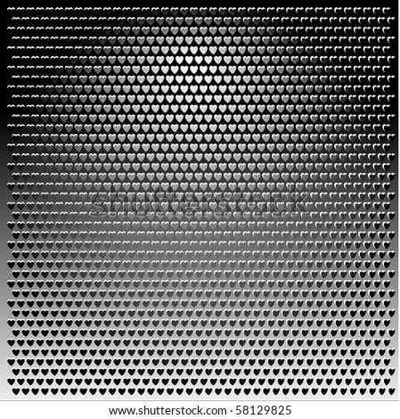 Metal Grill grey heart texture background illustration