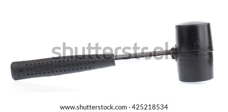 Metal hammer with a rubber handle isolated on white background