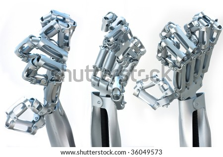metal hand, robot arm from the silver metal