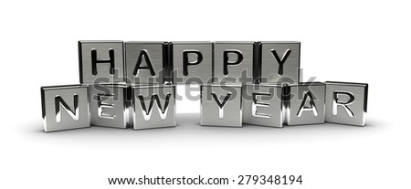 Metal Happy New Year Text (Isolated on white background) - stock photo