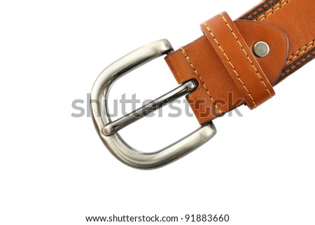 Metal head of brown belt on white background.