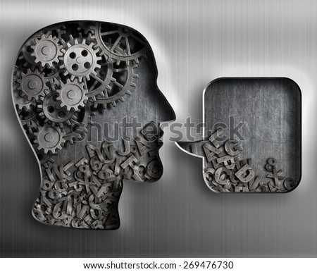 Metal head with brain gears and speech bubble - stock photo