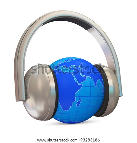 Metal Headphones with Miniature Globe on white background - stock photo