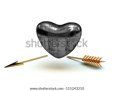 Metal heart and gold arrow 3D - stock photo