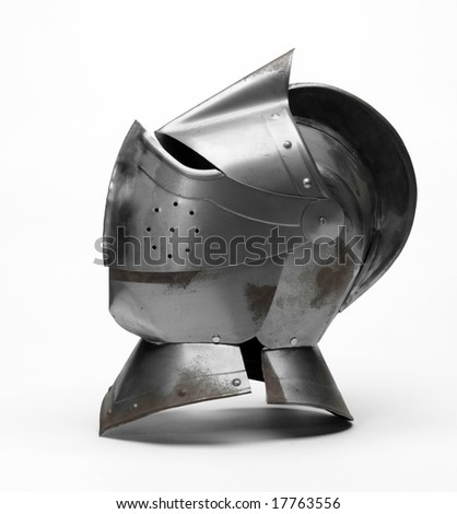 Metal helmet of the knight - stock photo